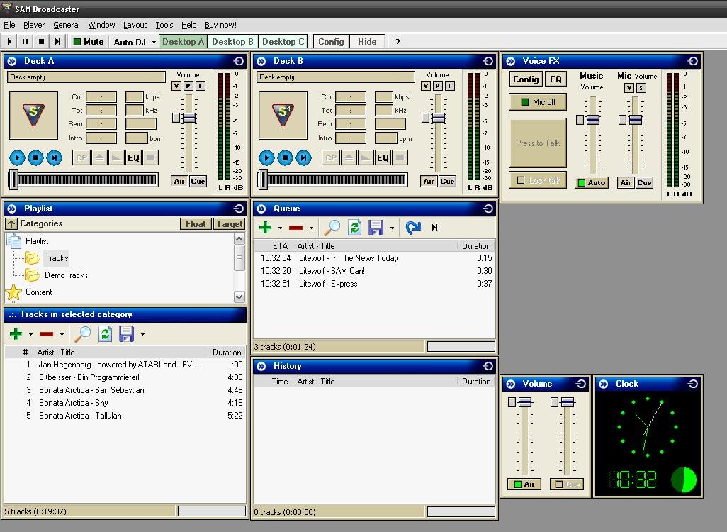 Internetradio Software: SAM Broadcaster